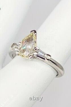 Antique 1920s $6000 1.55ct Old Pear Cut VS L Diamond Platinum Wedding Ring