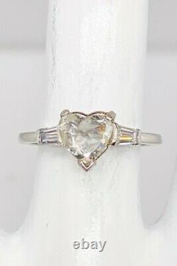 Antique 1930s $6000 DECO 1.32ct Old Heart Cut Diamond Platinum Wedding Ring RARE
