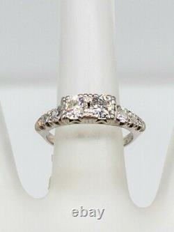Antique 1930s ART DECO 1.25ct Old Euro Diamond Platinum Wedding Band Ring