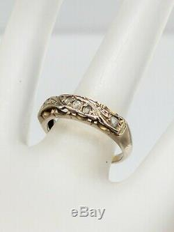 Antique 1930s ART DECO 5 Old Mine Cut Diamond 14k Yellow Gold Wedding Band Ring