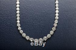 Antique 1940s $60,000 25ct Old Mine Cut Euro Diamond Platinum Necklace 16 WOW