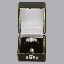 Antique 1.00ct Old European Cut Diamond 18ct Gold Vintage Edwardian Trilogy Ring