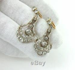 Antique 3.25ct Old Mine Cut Diamond Platinum & 18K Gold Drop Earrings