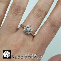 Antique Artnouveau Cluster Flower Ring Rose And White Gold 18k Old Cut Diamond
