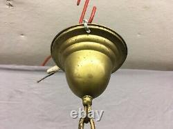 Antique Brass Pendant Ceiling Light Fixture Old Milk Glass Shade Vtg 398-19E