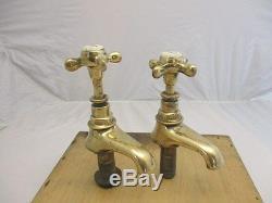 Antique Bronze Sink Taps Basin Prcelain Caps 1900 Victorian Salvage Vintage Old
