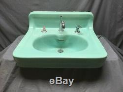 Antique Ceramic Aqua Marine Green Wall Mount Bath Sink Old Vtg Kohler 45-19E