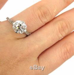 Antique Edwardian 2.50ct Old Mine Cut Diamond Platinum Engagement Ring GIA L-VS2