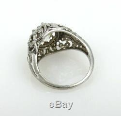 Antique Edwardian 2.53ct Old Mine Cut Diamond Platinum Decorated Ring Size 6.75