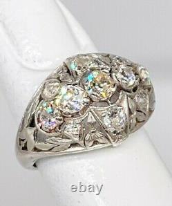 Antique Edwardian $7K 2ct Old Mine Cut Euro VS H Diamond Platinum Filigree Ring