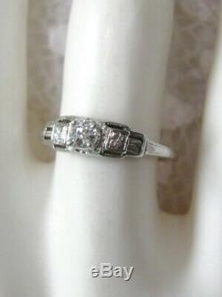 Antique Estate 18k Wg Genuine Old Mine Cut Diamond Filigree Deco Engagement Ring