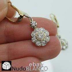 Antique Flowers Cluster Artnouveau Earrings Gold 18k Old Cut Diamonds Platinum