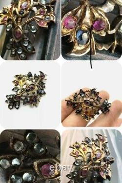 Antique Georgian Silver Old Cut Genuine Ruby Sapphire Brooch