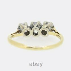 Antique Gold Ring Vintage 1.10 Carat Old Mine Cut Diamond Three Stone Ring 18ct