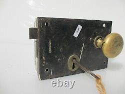 Antique Iron Door Lock Brass Knobs Handles Victorian Old Bolt Key Vintage