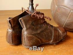 Antique Leather Football Boots. Vintage Old Soccer Cleats. Small Child Size 8