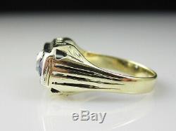 Antique Old Mine Diamond Blue Sapphire Three Stone Ring 14K Vintage Art Deco