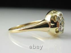 Antique Old Mine Diamond Ring Cluster Cocktail 1.00ctw 14K Yellow Gold Vintage
