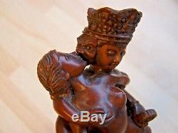 Antique Old Vintage Unusual Carved Wooden Indian Tantric Figure Of God Shiva Vgc
