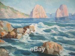 Antique Painting Small Gem Vintage Landscape Seascape Coast Sea Ocean Gianni Old