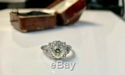 Antique Platinum Art Deco Old Mine Cut 2.29 CTW Diamond Engagement Ring
