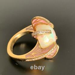 Antique Rene Lalique 18K Gold 16.3mm Opal, 54 Old Cut Diamonds Pink Enamel Ring