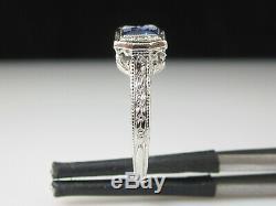 Antique Sapphire Diamond Ring Platinum Art Deco Estate Vintage Retro Old Europea
