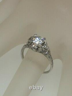 Antique Signed 1920s $10,000 1.50ct Old Euro Diamond Platinum Filigree Ring RARE