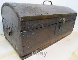 Antique Small Dome Top Trunk Treasure Chest Wooden Document Box old worn patina