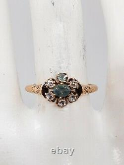 Antique Victorian 1860s Old Mine Cut Diamond Alexandrite 14k Yellow Gold Ring