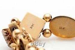 Antique Victorian 1890s 1ct Old Euro VS G Diamond 14k Gold SLIDE Charm Bracelet