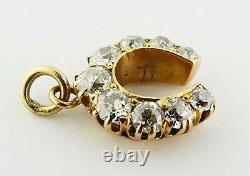 Antique Victorian 18K Gold & 1.10ct Old Mine-cut Diamond Horseshoe Charm c. 1900