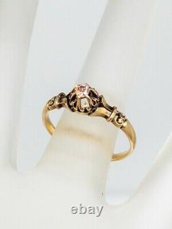 Antique Victorian. 20ct Old Mine Cut Genuine PINK Diamond 14k Yellow Gold Ring