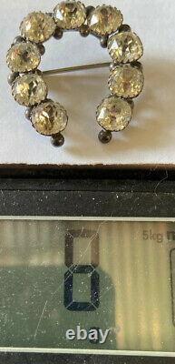 Antique Victorian Sterling Silver Rare Old Mine Cut Diamond Paste Horseshoe Pin