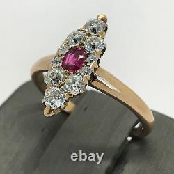 Antique Vintage Estate 14K Rose Gold Ring Ruby & Old Mine Cut Diamonds 1.00ctw