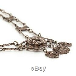 Antique Vintage Nouveau Sterling 800 Silver Italian Old Man North Wing Necklace