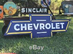 Antique Vintage Old Style Chevrolet Bowtie Sign
