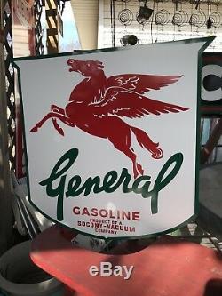 Antique Vintage Old Style General Socony Mobil Oil Transition Sign