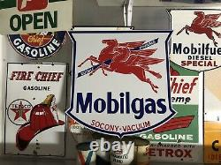 Antique Vintage Old Style Mobil Gas Socony Vacuum Sign