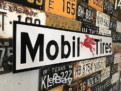 Antique Vintage Old Style Mobil Tires Sign! Mobil Oil & Gas