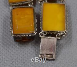 Antique vintage natural baltic amber silver bracelet egg yolk butterscotch old