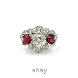 Art Deco Antique Platinum 3.2 Ctw Old Euro Diamond Round Ruby Ring Size 8 #e274