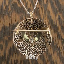 Art Nouveau 1.25 Vs Old Mine Rose Cut Diamond Turquoise Pendant Vintage Necklace