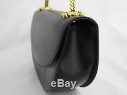 Auth Gucci Vintage Old Gucci Chain Shoulder Bag Black Leather/Goldtone e40394