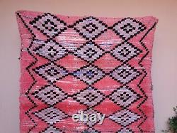 Authentic Vintage Moroccan Handmade Rug 4ft8x7ft4 Old Boujaad Geometric Pink Rug