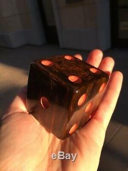Bakelite XXL LARGE Dice Rod Antique Vintage Old Big Brown Marble Catalin Jumbo