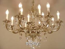 Baroque Chandelier Silver Crystal Vintage Lamp Old Antique 12 Light