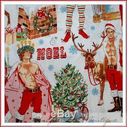 BonEful Fabric FQ Cotton Quilt VTG Xmas Elf Reindeer Adult Sexy Santa Gay Pride