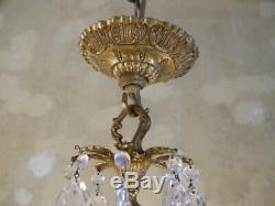 Brass crystal chandelier fixtures ceiling lamp 8 light lustre used old vintage