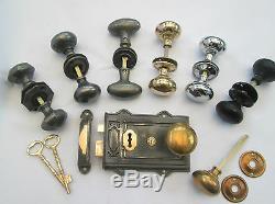 Dual handed Cast Iron & Brass Victorian Davenport RIM LOCK or LARGE LATCH